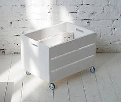 Ящик для іграшок на колесах з канатами білий KR136