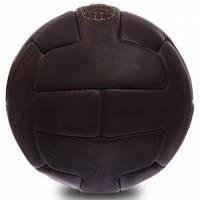 Футбольный мяч сувенирный винтажный кожаный ретро 5 размер VINTAGE 18 панелей Темно-коричневый (F-0249)