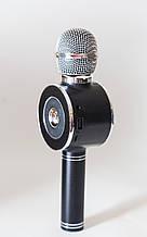 Безпровідний мікрофон караоке з динаміком і світломузикою, WS-668 (USB, microSD, AUX, FM, Bluetooth), чорний