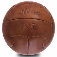 Мяч футбольный сувенирный винтажный кожаный ретро 5 размера VINTAGE 18 панелей коричневый (СПО F-0250), фото 1