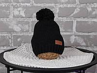 """Вязаная шапка для мальчика """"Lucky"""", черного цвета"""