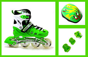 +Подарок +Детские Ролики+Шлем+Защита Scale Sports Green, размер 29-33\34-37