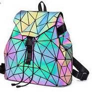 Рюкзак женский bao bao треугольники голографический хамелеон светящийся В568