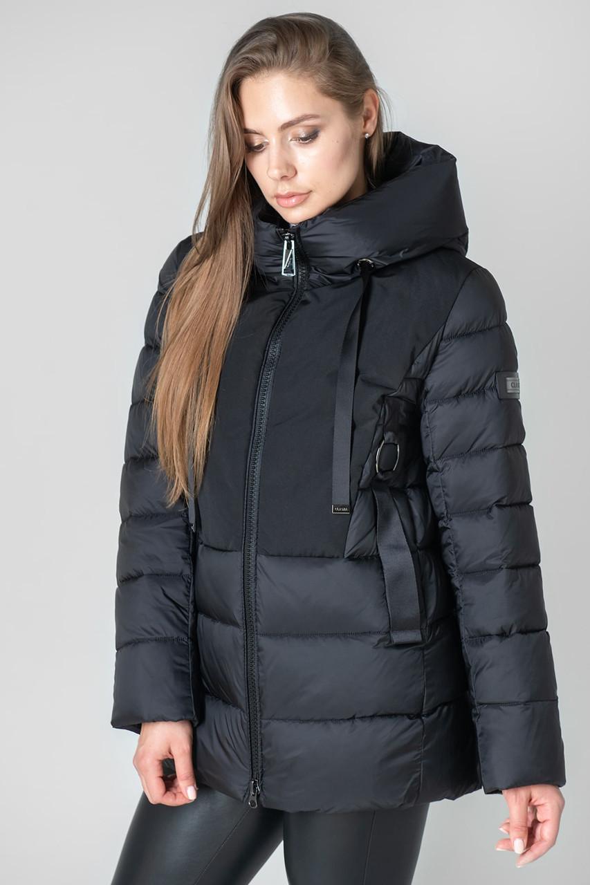 Женский зимний пуховик с капюшоном CLASNA CW19D803CW  черного цвета