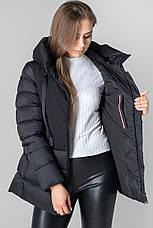Женский зимний пуховик с капюшоном CLASNA CW19D803CW  черного цвета, фото 3