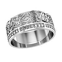 Кольцо серебряное Розы с Камнями