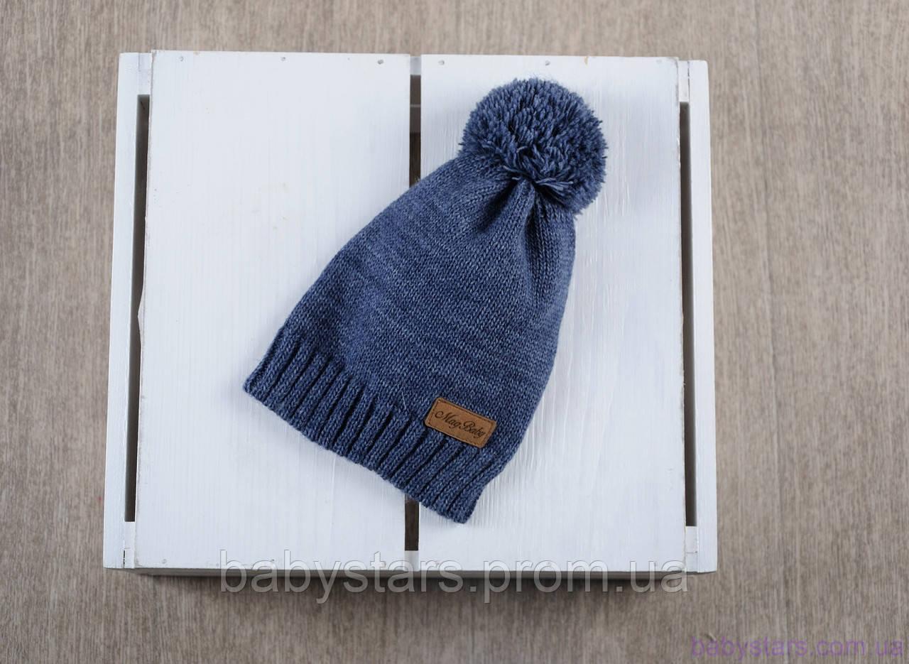 """Детская вязаная шапка """"Lucky"""", синего цвета"""