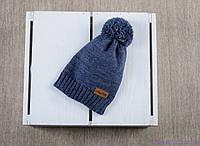 """Детская вязаная шапка """"Lucky"""", синего цвета, фото 1"""