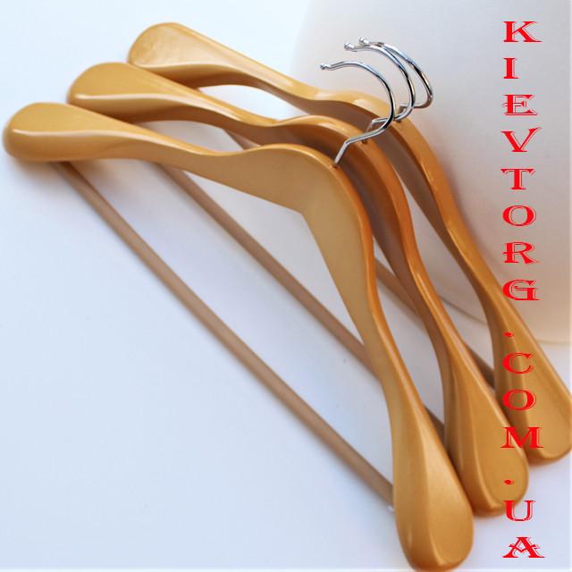 Вешалки плечики деревянные широкие для верхней одежды с противоскользящей перекладиной, 45 см