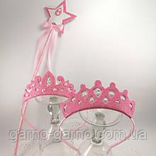 Корона снежинка  для Снежной королевы Корона снежинки розовая корона волшебная палочка с волшебной палочкой