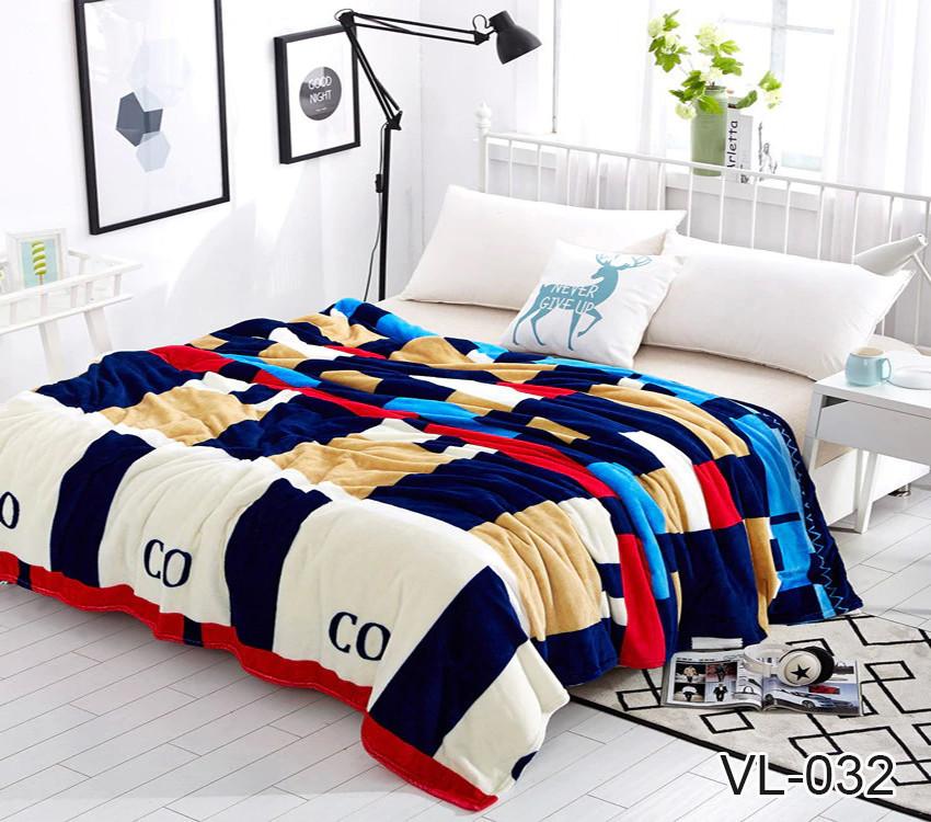 Плед покрывало 160х220 велсофт Клетка цветная на кровать, диван