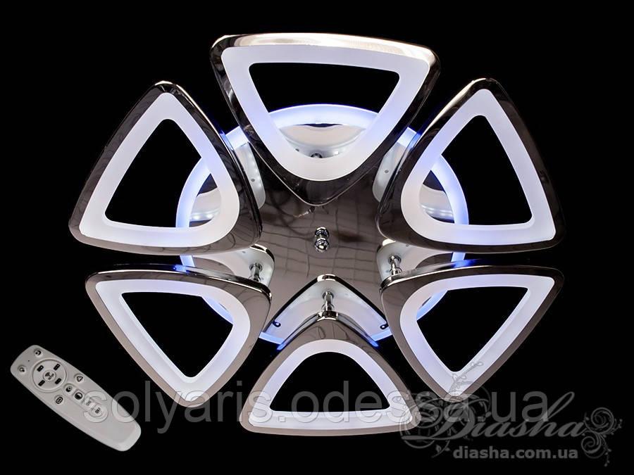 LED-люстра с диммером и синей подсветкой, цвет хром,золото 115W 8118/6HR LED 3color dimmer