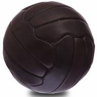 Мяч футбольный сувенирный винтажный кожаный ретро 5 размера VINTAGE 18 панелей темно коричневый (СПО F-0254), фото 1