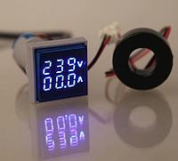 Вольтметр/амперметр переменного тока AC 22мм 60-500В 0-100А - синий