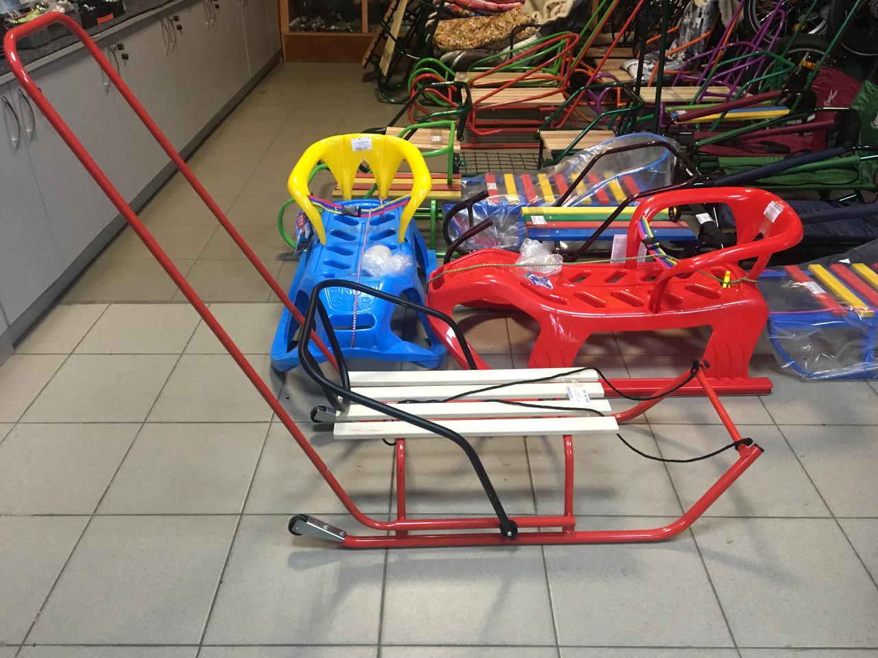 Санки детские с колёсами, разворотные Красный