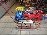 Санки детские с колёсами, разворотные Зеленый