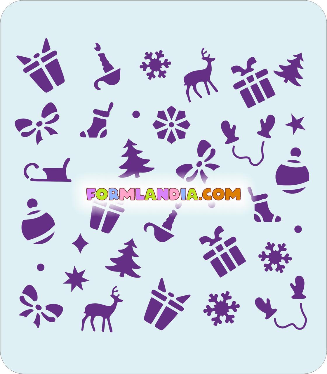 Трафарет для пряников Новый год №7