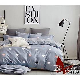 Комплект постельного белья подростковый серый Сердечки