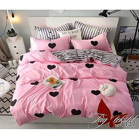 Комплект постельного белья подростковый розовый Сердечки