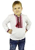Біла вишиванка для хлопчика із геометричним орнаментом, фото 1