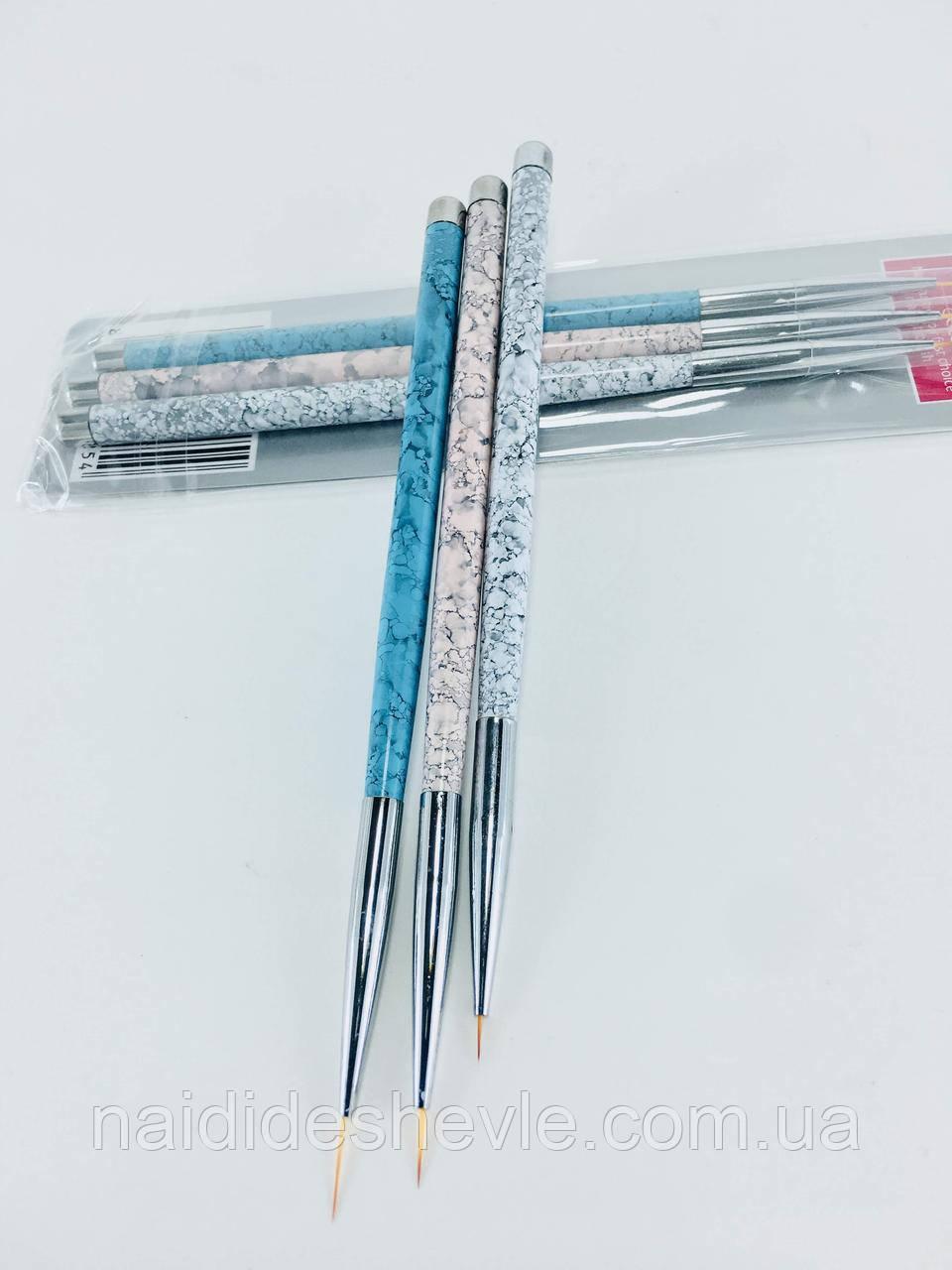 Набор кистей для росписи ногтей - 3 шт.
