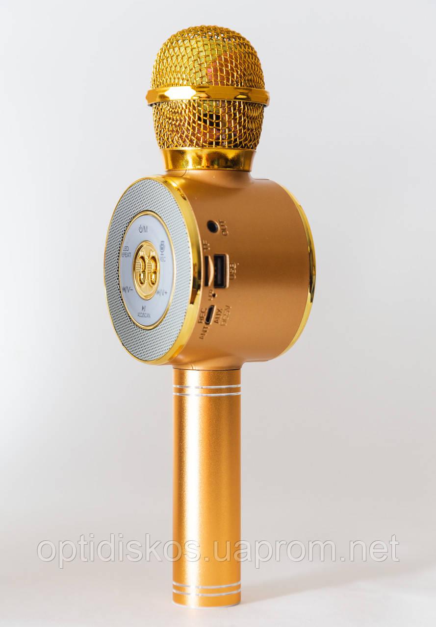 Беспроводной караоке микрофон с динамиком и цветомузыкой, WS-668 (USB, microSD, AUX, FM, Bluetooth), золотисты