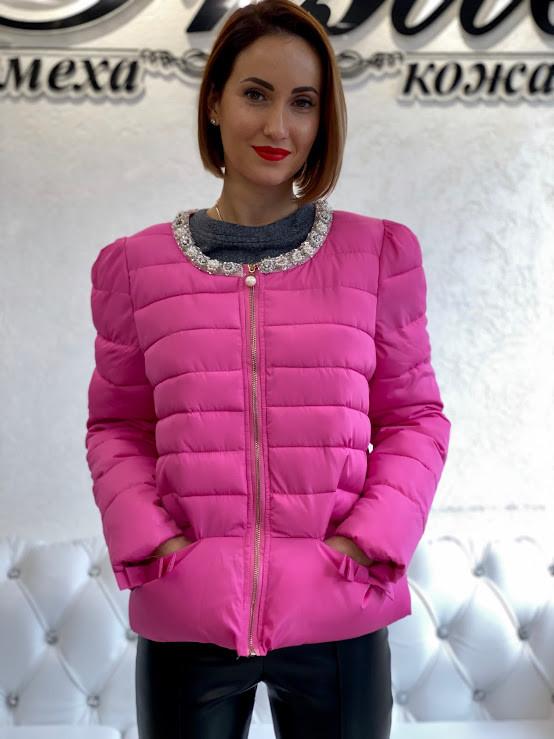 Женский Пуховик Короткий Розовый 065ЕИП