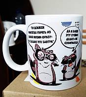 """Чашка-прикол """"Енот Толик - мотиватор"""" Для категории 18+. Печать на чашках, кружках."""