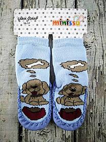 Носки-чешки С подошвой Собачка с косточкой Голубой Турция