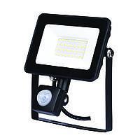 Прожектор светодиодный  с датчиком движения чёрный LED 50W 6400К ZL 4128