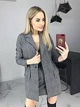 Стильный костюм-двойка пиджак и юбка /серый в клетку, 42-46, ft-464/, фото 2