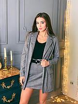 Стильный костюм-двойка пиджак и юбка /серый в клетку, 42-46, ft-464/, фото 3