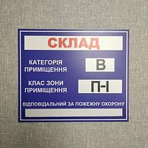 Табличка Ответственный за пожарную охрану на складе
