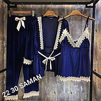 Женская пижама из бархата 374 (42/44, 46/48) (цвет синий) СП, фото 1