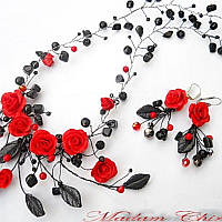 Колье и серьги с красными розами