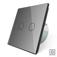Сенсорный выключатель Livolo Сухой контакт 2 канала серый стекло (VL-C702I-15), фото 1