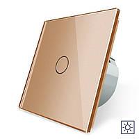 Сенсорный выключатель Livolo Сухой контакт 1 канал золото стекло (VL-C701I-13), фото 1