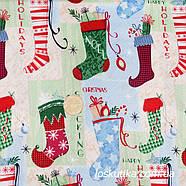 54005 Ткань новогодняя. Сапожок Санты. Подойдет для новогоднего декора, пэчворка, скрапбукинга и сувениров., фото 2