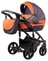 Детская универсальная Коляска 2 в 1 Adamex Prince X-12-A серый лен - оранжевая кожа