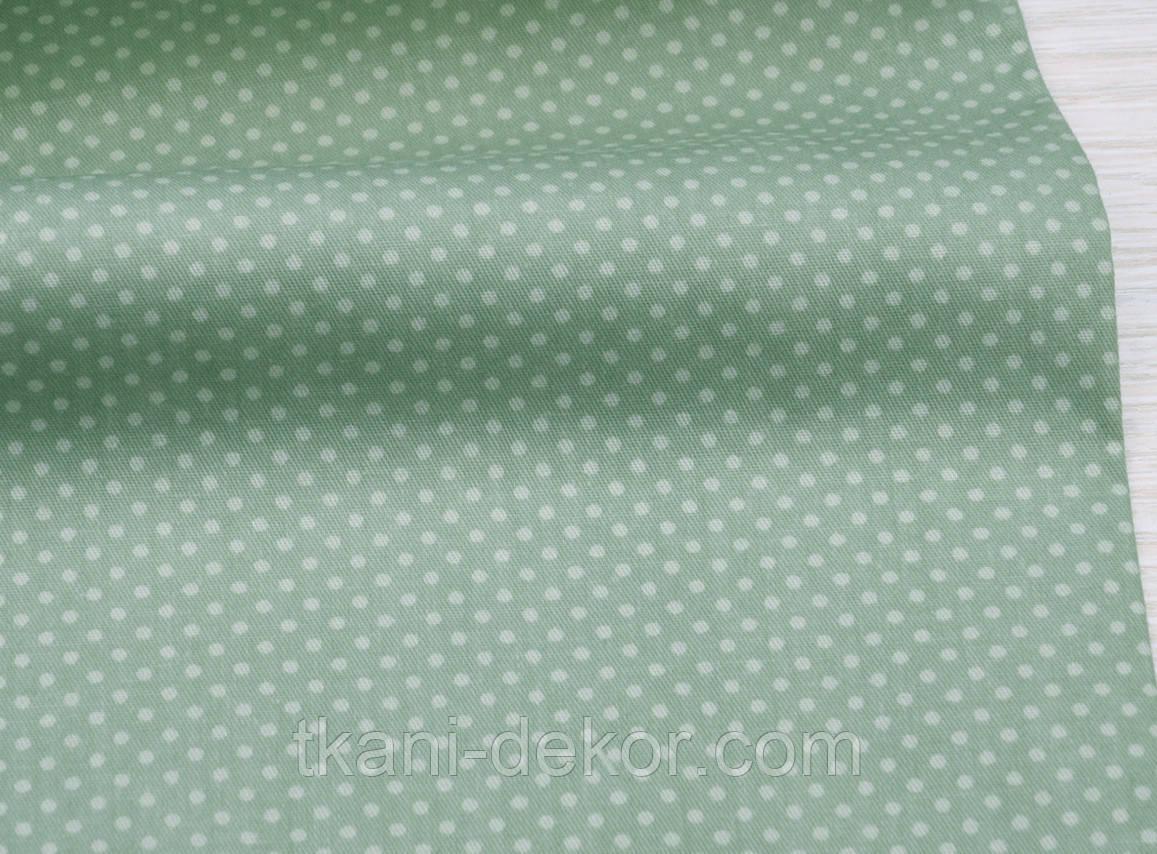 Сатин (хлопковая ткань) Точки на оливке