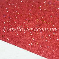 Экокожа, мелкие блестки и звездочки. Цвет Красный . Размер 19*30см