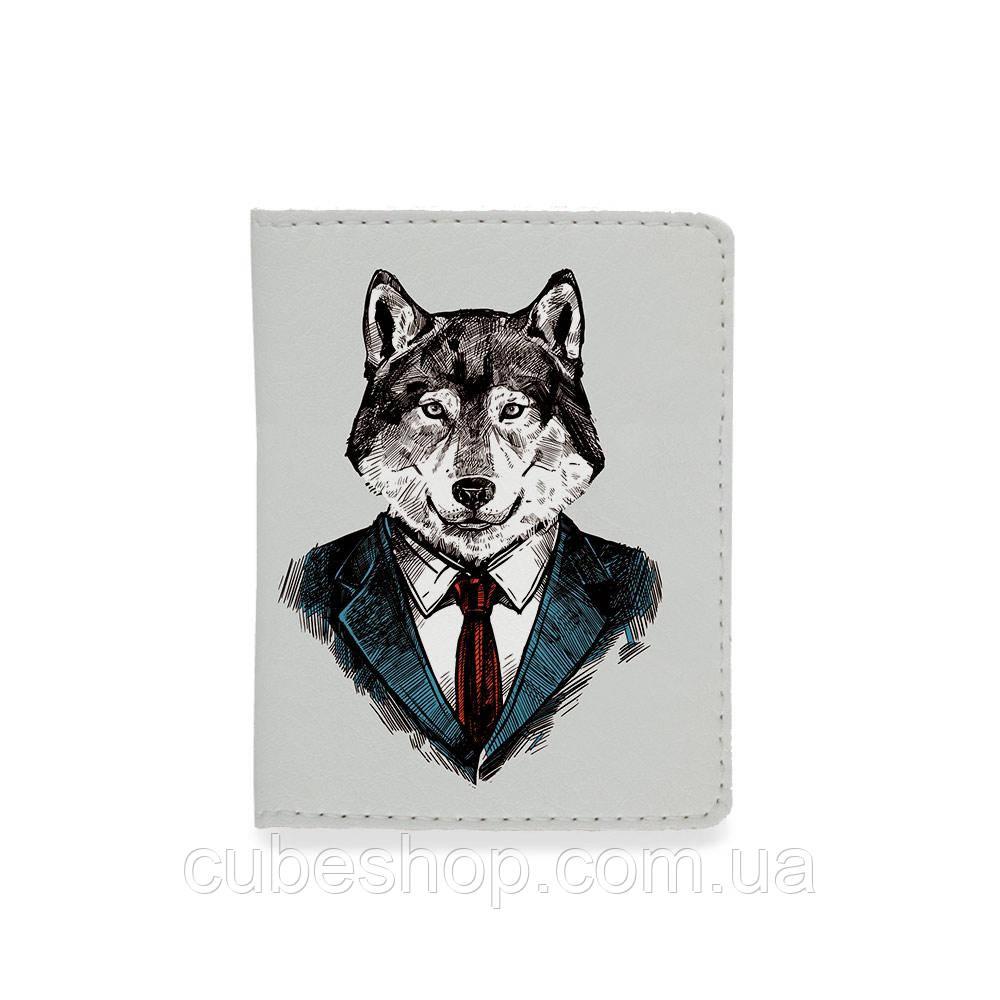 Обложка на ID паспорт или права - Волк в костюме
