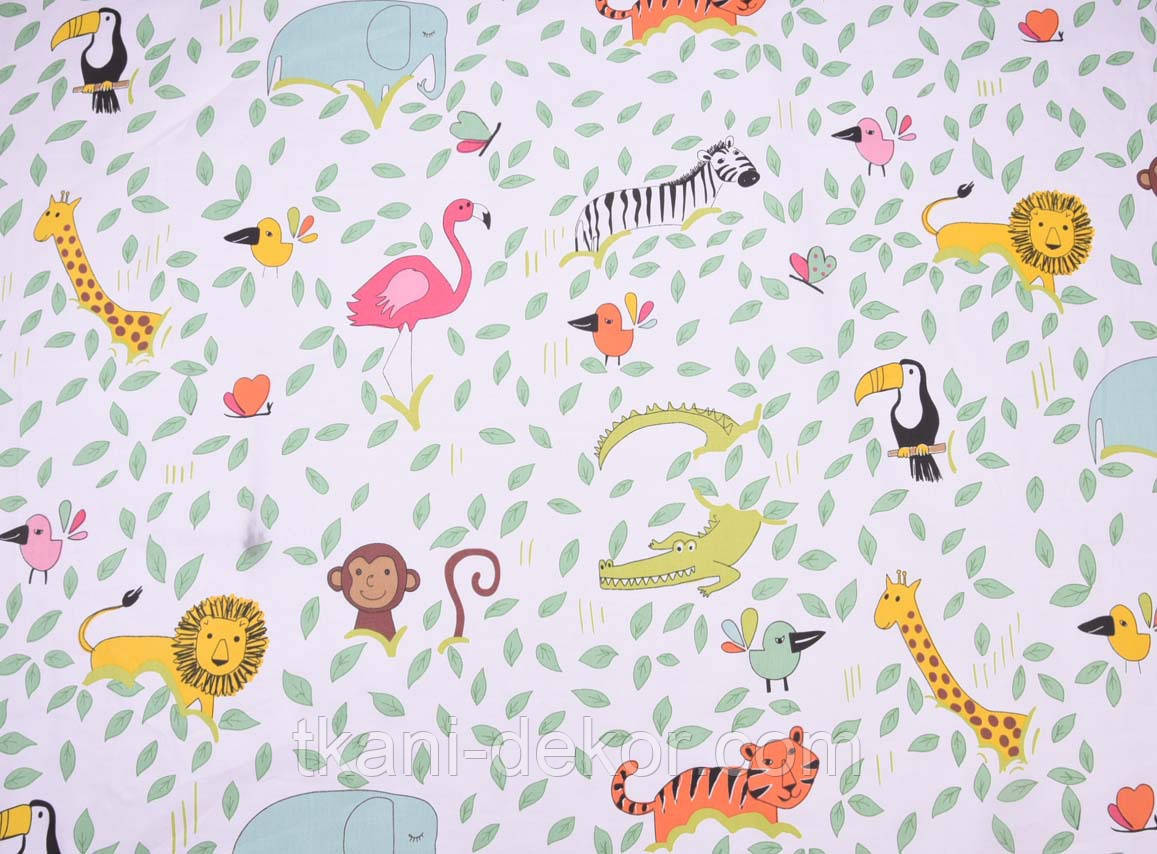 Сатин (хлопковая ткань) Зоопарк в зеленых листиках