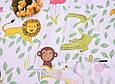 Сатин (хлопковая ткань) Зоопарк в зеленых листиках, фото 4