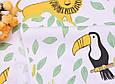 Сатин (хлопковая ткань) Зоопарк в зеленых листиках, фото 5