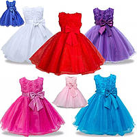 Детские нарядные платья с розочками и блестками Разные цвета на рост 80-92