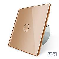 Сенсорная кнопка Livolo Сухой контакт 1 канал золото стекло (VL-C701IH-13), фото 1