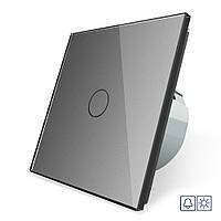 Сенсорная кнопка Livolo Сухой контакт 1 канал серый стекло (VL-C701IH-15)