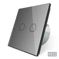 Сенсорная кнопка Сухой контакт 2 канала Livolo серый стекло (VL-C702IH-15), фото 1