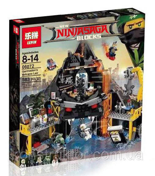 "Конструктор Lepin 06072 ""Логово Гармадона в жерле вулкана"" 583 деталей. Аналог Lego Ninjago Movie 70631"